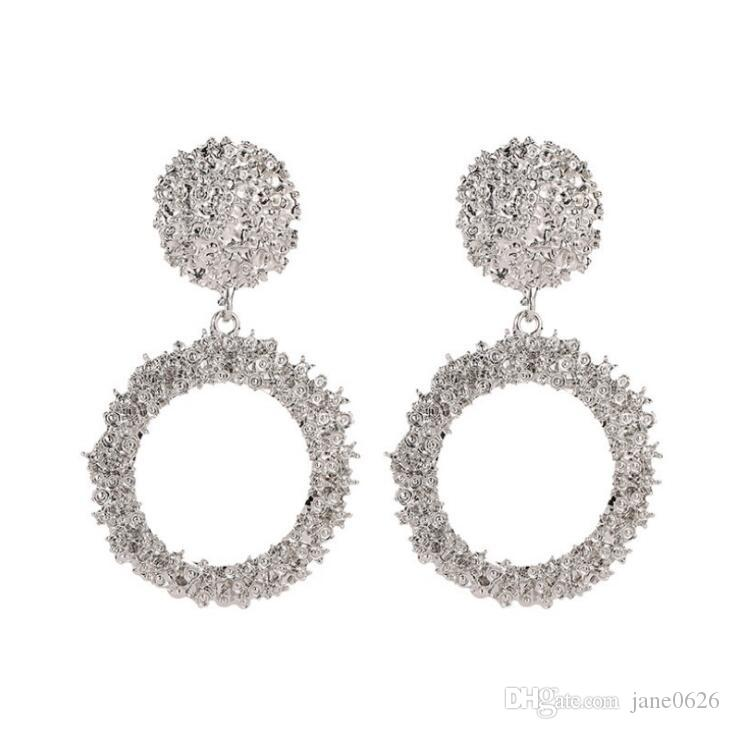 Large Big Round Circle Drop Earrings Dangle Hanging Maxi For Women Female Punk Bohemian Statement Geometry Jewelry