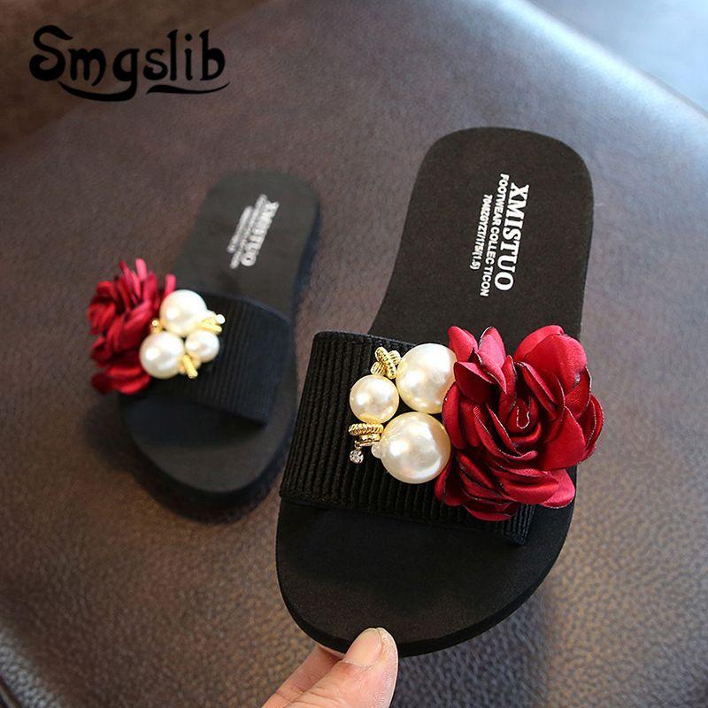 Kızlar Terlik Çocuk Plaj Moda ilmek Casual Sandalet 2019 Yaz Rahat Kadınlar Ev Ayakkabı Çocuk Çiçek Terlik Y200106