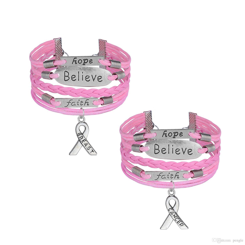 Cuir Corde Wrap Bracelet Conscience de Cancer Croyez espoir de foi du sein Charms Rétro personnalité à la main pour les femmes filles bijoux cadeau