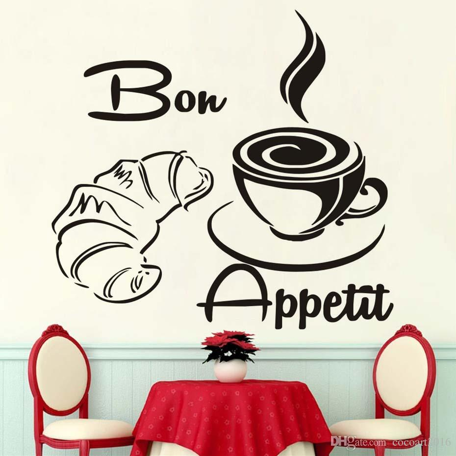 1 Pcs Large Size Free Shipping Modern Coffee Croissant French Bon Appetit Kitchen Wall Stickers, Home Decor Art Wall Quotes