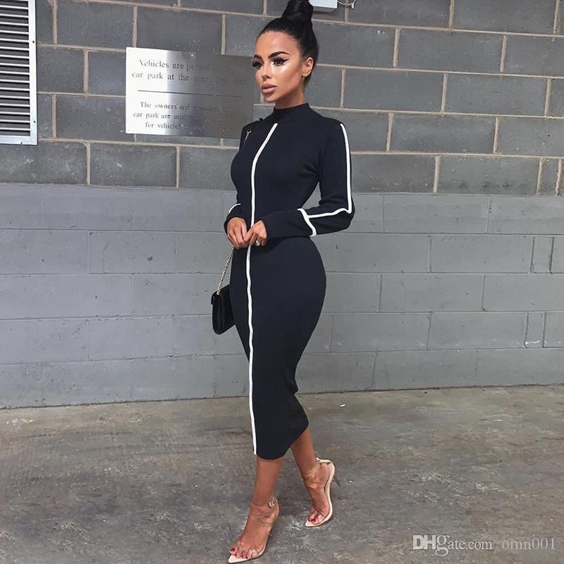 Womens Slim Long Dress Contrast Color Long Sleeves Ladies Bodycon Dress Fashion Skirt For Spring Autumn Casual Clothing Apparel 25 9ym E1