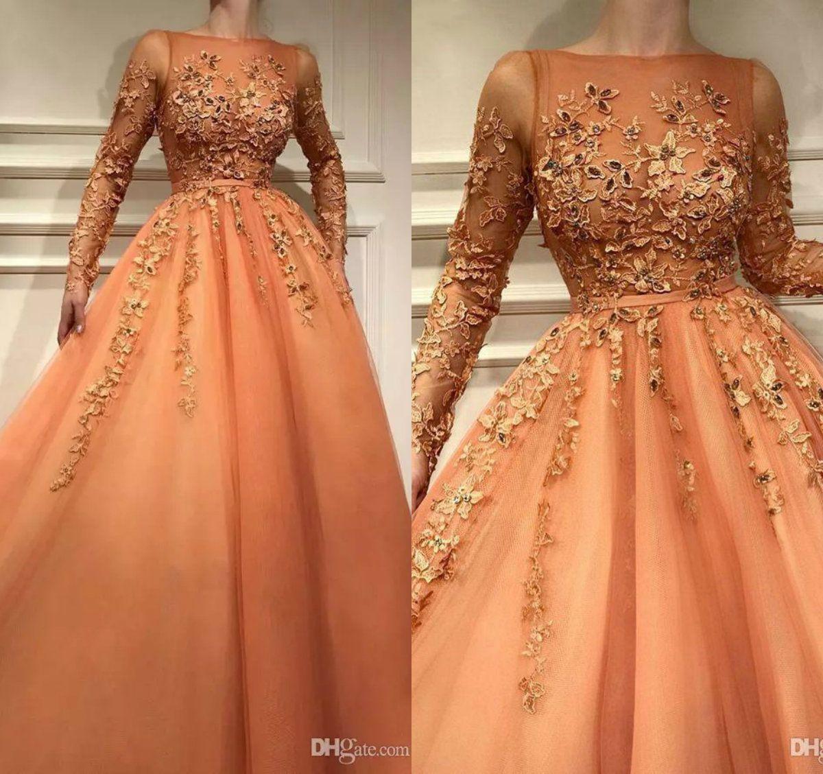 Encaje Naranja Vestidos de noche con mangas largas Una línea Apliques Vestido de fiesta largo con cuentas Cinturón Ilusión Corpiño Vestido de ocasión formal