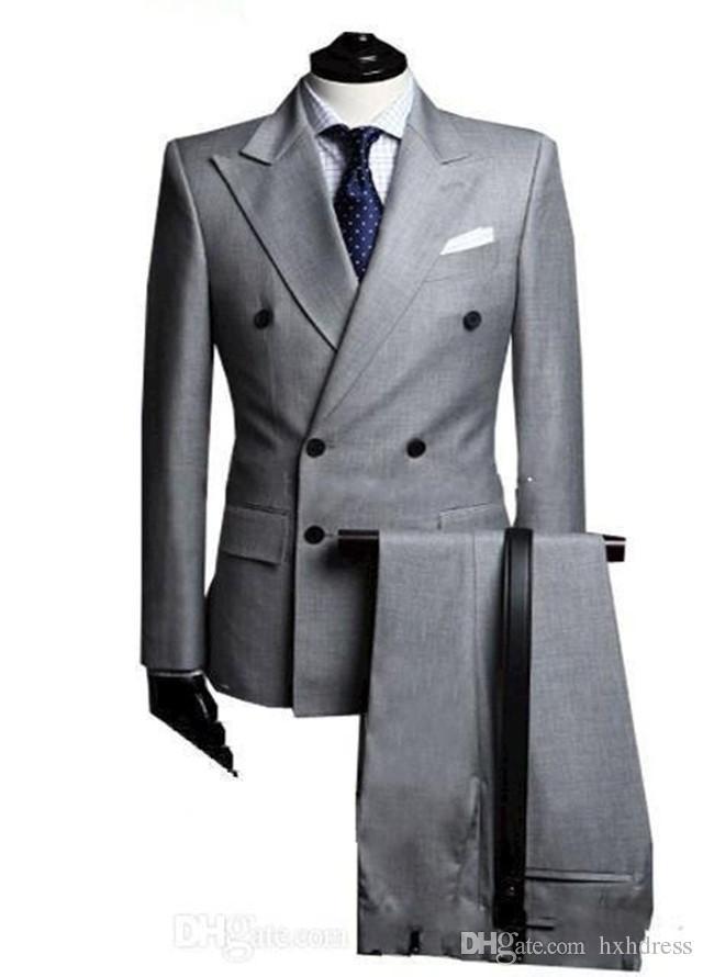 New Double-Breasted Side Vent Light Grey Groom Tuxedos Peak Lapel Groomsmen Mens Wedding Tuxedos Prom Suits (Jacket+Pants) XZ24