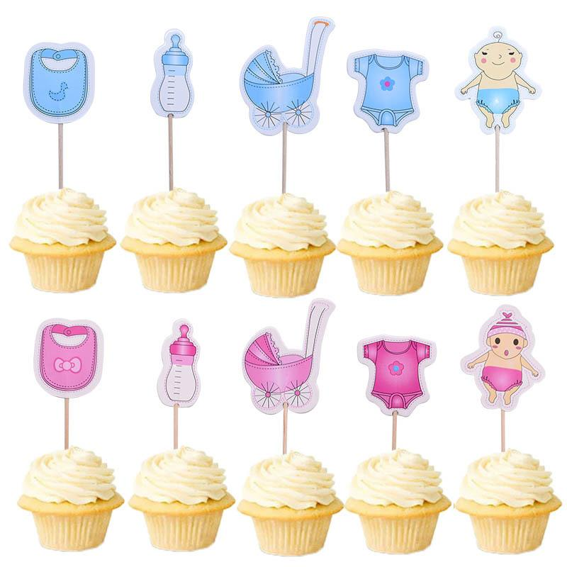 20Pcs/lot Baby Shower Cupcake Toppers BabyShower Boy Girl Christening Kids Birthday Party Favors Cake Decorations Supplies Y200618