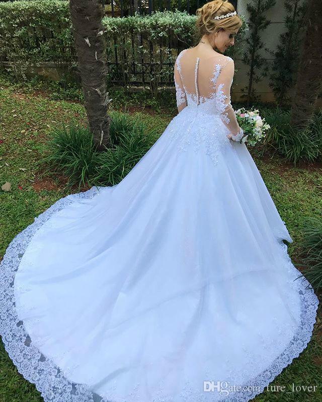 Novo cetim a linha princesa vestidos de casamento querida sheer sheer manga longa vestidos de casamento com apliques frisados vestidos de noiva luxuosos