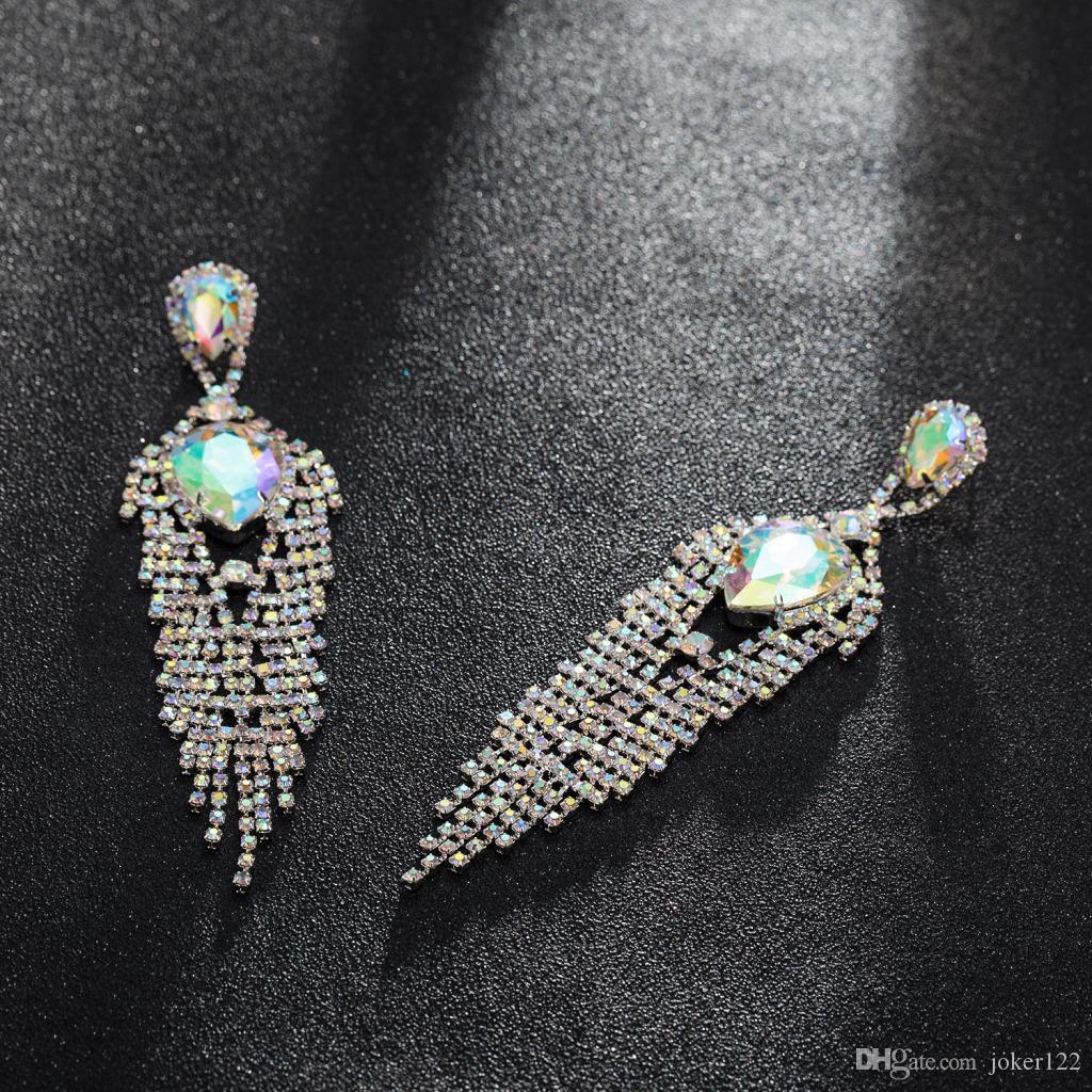 Изысканные ювелирные изделия кисточкой серьги женщин длинные серьги шпильки с полной блестящей Кубиз Циркон женская серьга, 1pz