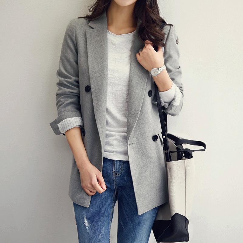 2019 Autumn Women Blazers and Jackets New Casual Suit Long Sleeve Coat Slim Ladies Jacket Double Breasted Spring Notched Coats