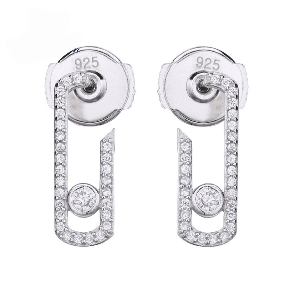 Punk rock de plata pura cristal de la CZ Mover circón joyería de moda plata de ley 925 joyería pavimentan el pendiente de gota Nuevos pendientes de diseño para las mujeres