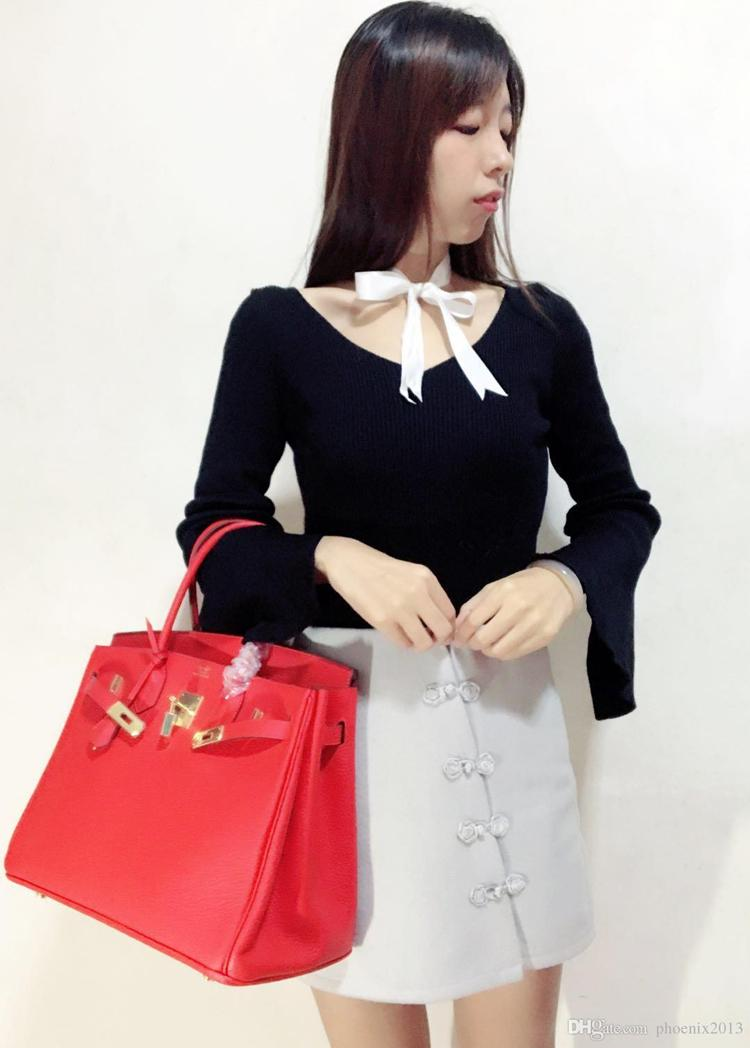Famous designer horse bag 100% real leather bolsos handbags for lady luxury purse with VIP gift package big size 35cm women bags for office