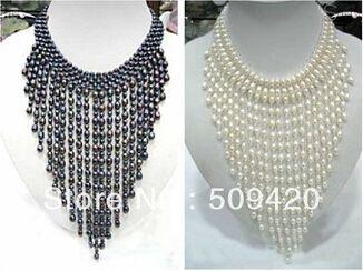 collar de perlas de agua dulce de moda libre del envío 1PC Artesanía