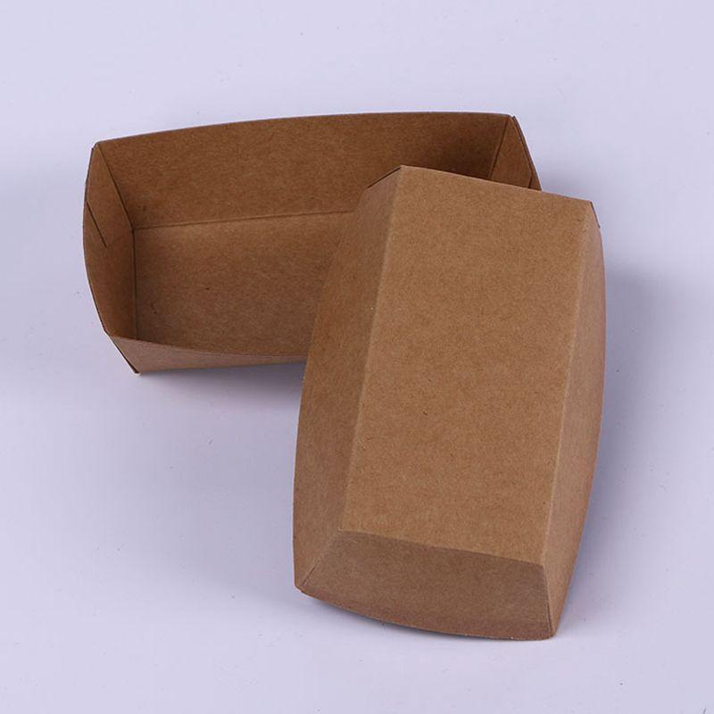 Kraft Paper Ship Boxes Hot Dog BBQ Bandeja Papel Fried Pollo Popculorn Paquete de Postre Paquete de alimentos para fiesta