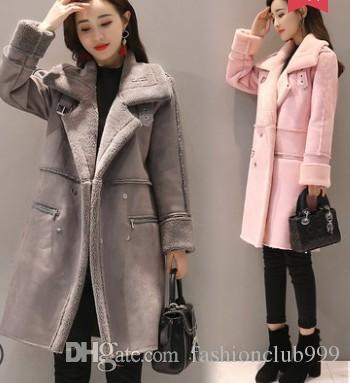 Frete Grátis Nova Chegada Venda Quente Especial de Moda Feminina Versão Coreana Inverno Grande tamanho Magro Além de Veludo Grosso Veados Cordeiro Casaco de Algodão