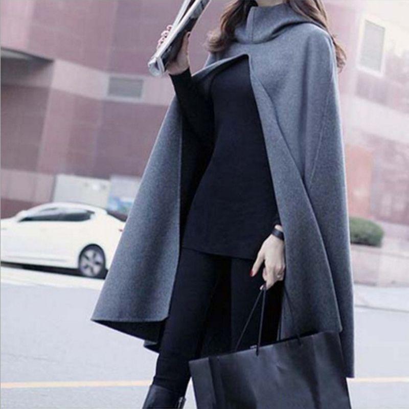 New Women Hooded Cloak Coat Bat Sleeve Long Poncho Cape Coat Woolen Blend Shawl Plus Size fz0763