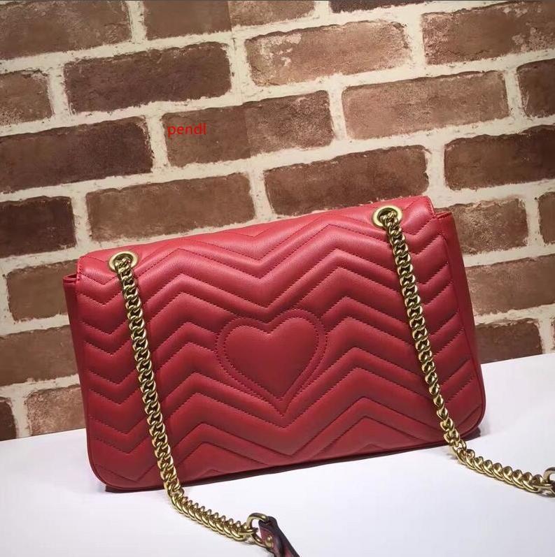2020 Top Quality Celebrity design Large Heart Cluth Marmont Shoulder Bag Women Genuine Leather Crossbody Messenger Bag Chain Belt 443496