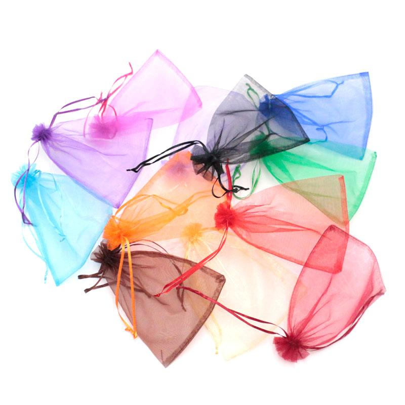 Wholesale 100pcs/lot 15x20cm Large Drawstring Bags Multi Color Solid Transparent Organza Jewelry Packaging Bags Gift Pouch Cheap