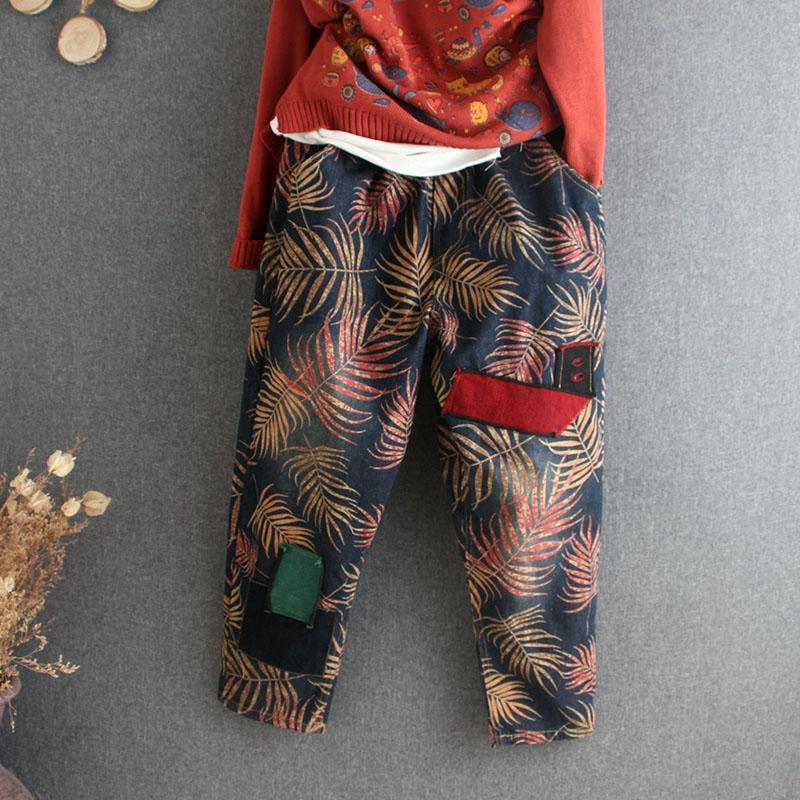 2020 luxe coréenne Mesdames Vintage Denim Sarouel Femmes Baggy Jogger Patchwork Jeans imprimé floral Pantalons élastique Casual