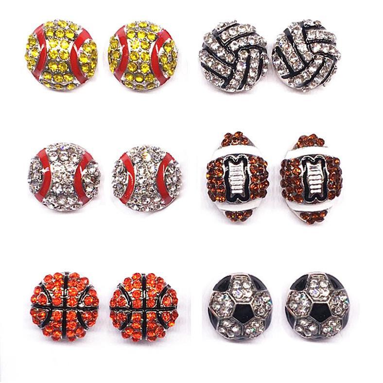 Softball Bassball Basketball-Ohrringe Diamant Eardrop Sportballspiel Strass Schmuck Ohrbügel Bling High-End Ear Zubehör E3310