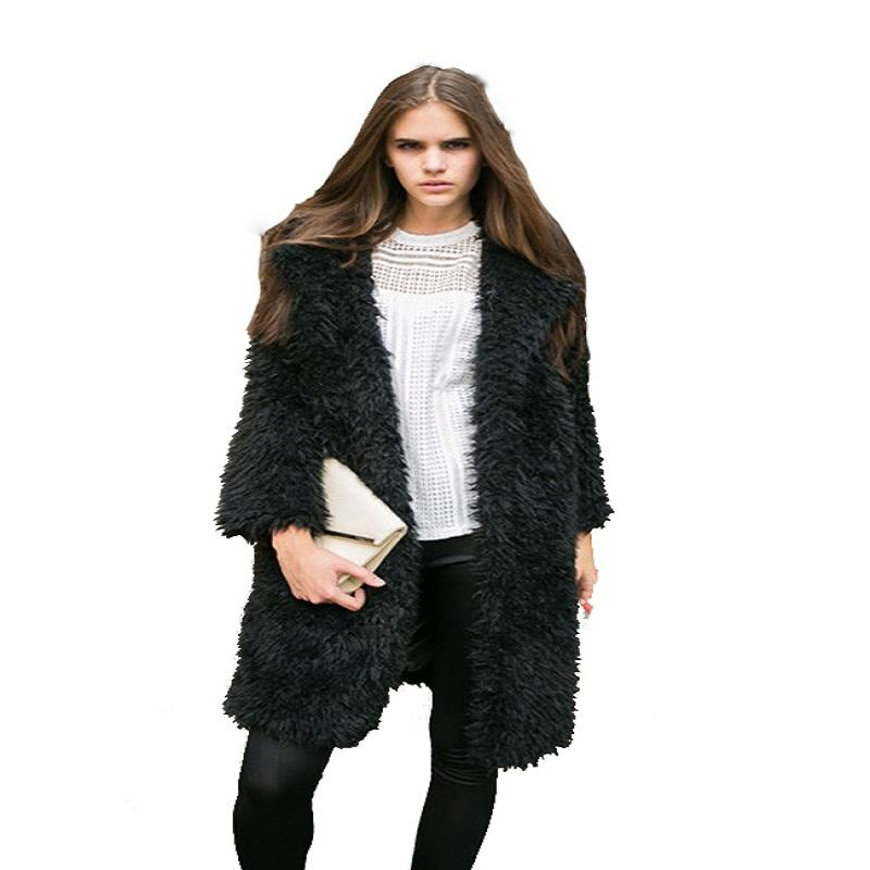 Fashion-2017 Plus Size Women's Wool Blend Overcoat Autumn Street Casual long loose Trench Coat for lady