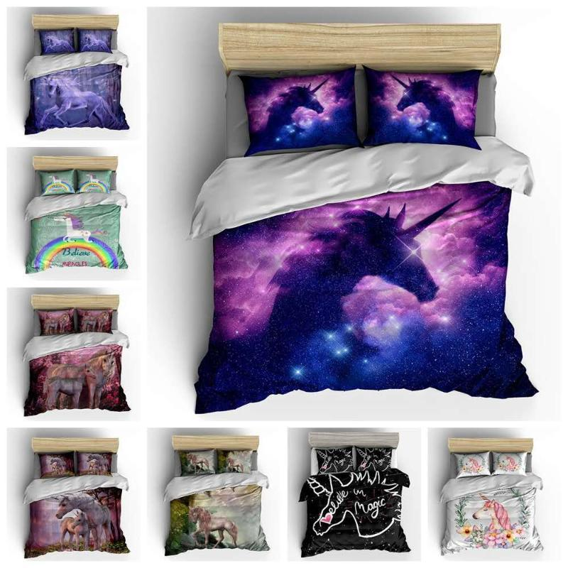 3D unicorn bedding set twin size cartoon duvet cover with pillowcase kids Bed line comforter set full bed