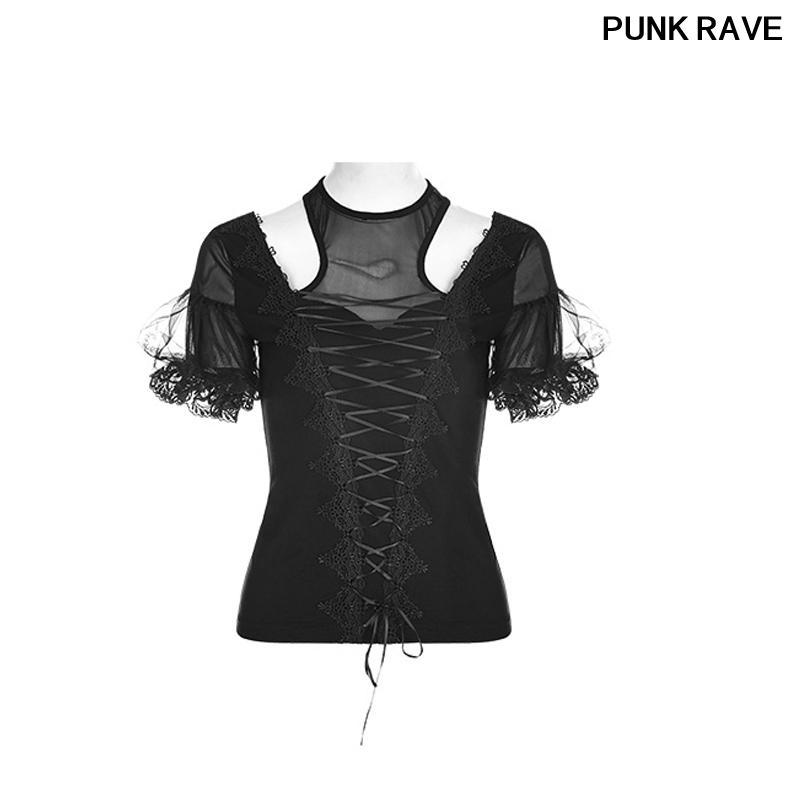 Botón del cordón de la cinta de Split DrawString manga corta camiseta magnífica gótico negro Nueva camiseta de las mujeres PUNK RAVE WT-490TDF