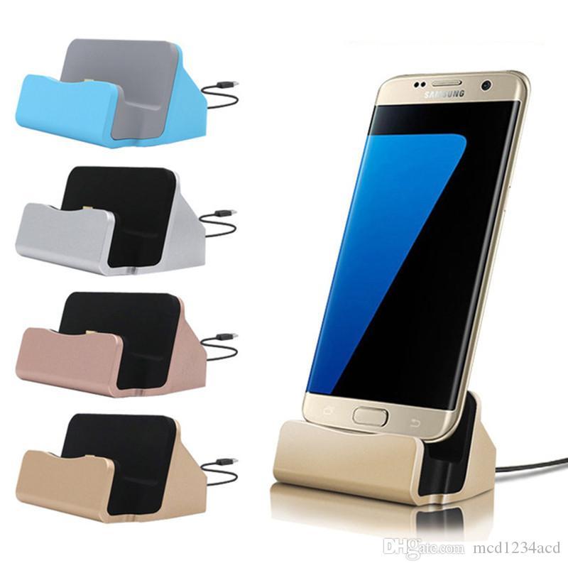 Tipo universal c Micro cargador rápido soporte del muelle de la estación del cargador para Samsung Galaxy S6 S7 S8 S9 S10 borde HTC LG teléfono androide