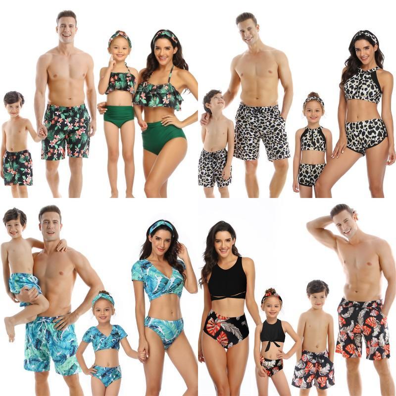 Papa fils maillots de bain de la famille d'été de la famille Look Maman et sa fille maillot de bain Bikini Cordialement Tenue