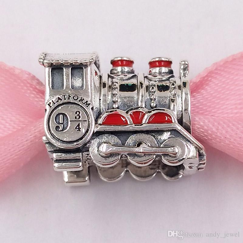 Autentico 925 perline in argento sterling 925 ERRY POTER, HOGWARRTSS Express Treno Charms Charms Adatto a Braccialetti europei Bracciali per gioielli in stile Pandora