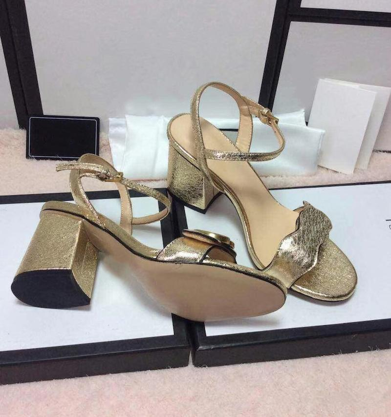 Estate donne del tacco alto sandali di cuoio del progettista dei sandali Double Gold-tonica hardware scarpe da sposa cinturino alla caviglia abito sandali 7,5 /10.5 cm