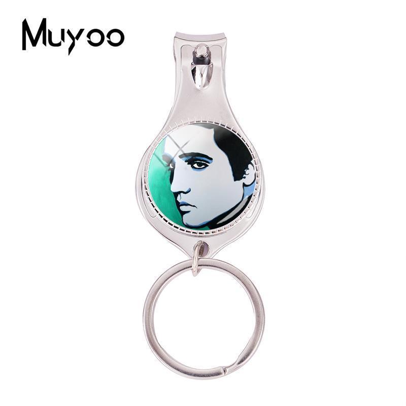 Moda Elvis Presley obras de arte Pinturas Multifuncional Keychain Rocha Cantor prego Jóias Clipper Chaveiro Prata Vidro