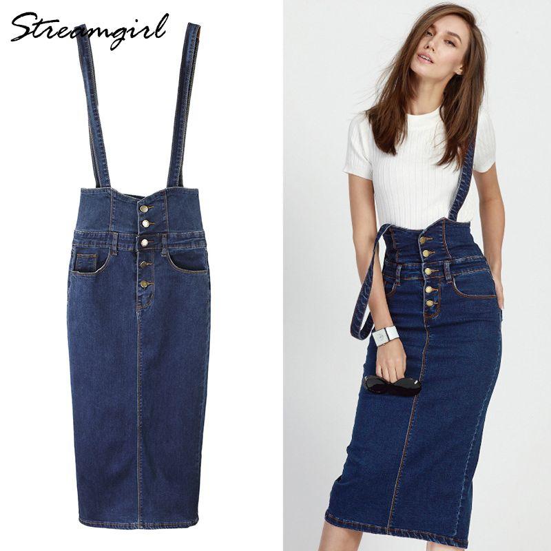 Venda quente Longo Denim Saia Com Alças Mulheres Botão Saias Jeans Plus Size Saia De Cintura Alta