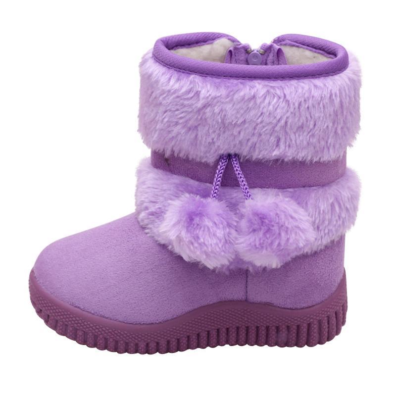 Moda para niños de invierno Botas Zapatos de las muchachas caliente al aire libre de la felpa de nieve de las botas niños Niños Zapatos planos bota del tobillo de tenis infantil