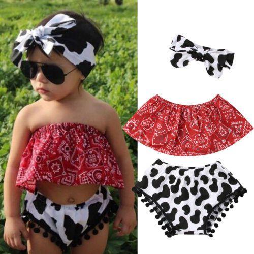 3PCS Kids Baby Girls Red Print Floral Tube Top + Cow Spot Fringed Ball Tassel Shorts Leggings + Bow Headband Clothing Sets 0-24m