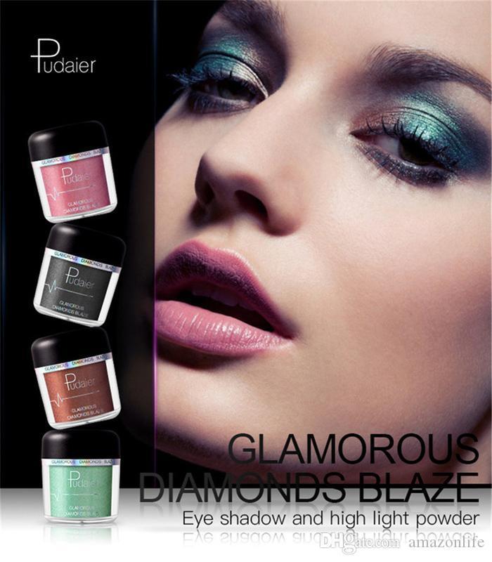 Pudaier Eyeshadow and Highlight Powder Glitter Metallic Powder Eyeshadow Pigments Easy to Wear Waterproof Shimmer Eye Shadow Powder