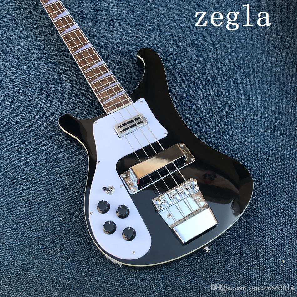 Factory Wholesale Black 4-string Electric Bass Guitar with Left-hand,White Pickguard,Chrome Hardwares,Offer Customized