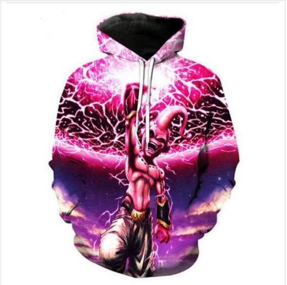 Sweats à capuche Designer Hommes pour Femmes Hommes Couples Sweatshirt Lovers 3d Dragon Ball Z Majin Buu Sweats à capuche Manteaux Pulls Avec Capuche T-shirts Vêtements R155