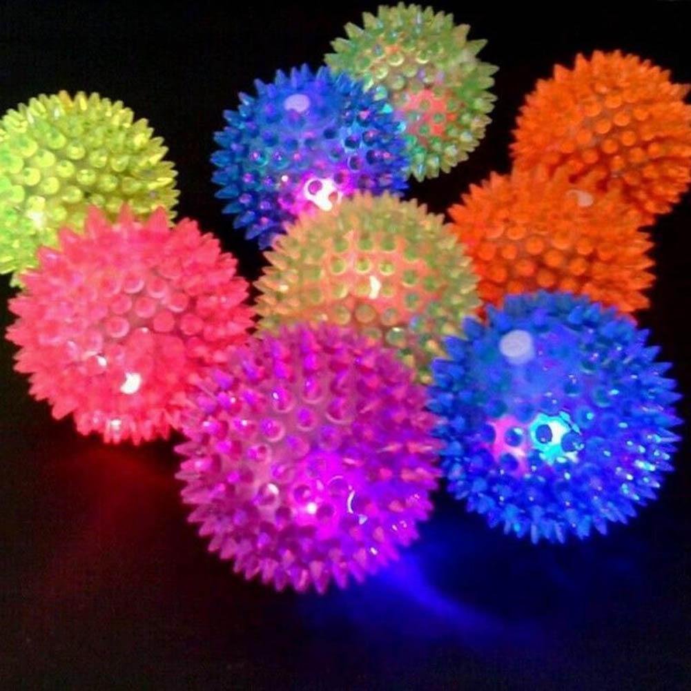 1 قطعة وامض ضوء جرو كلب القط الحيوانات القنفذ المطاط الكرة جرس الصوت الكرة متعة اللعب لعبة الصمام الخفيفة الصرير مضغ الكرات