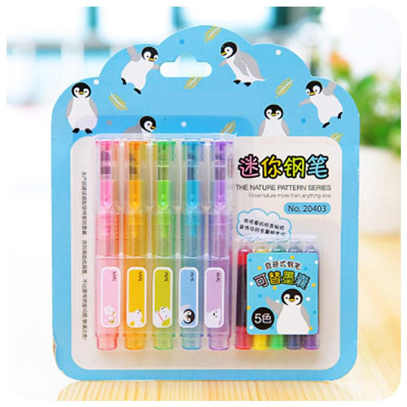 5pcs Colored Fountain Pen Set with Ink Sac Plastic Calligraphy Ink Pen 0.5mm for Writing Office School Supplies Cute Stationery