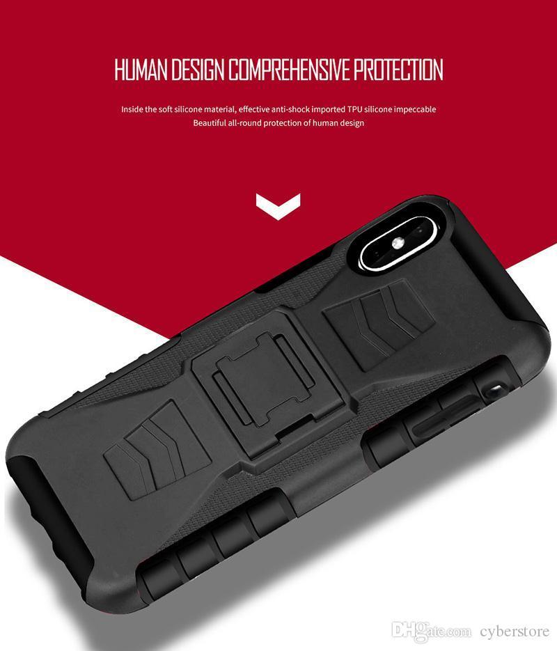 Telefono caso ibrido futuro armatura di caso di impatto duro della copertura della cinghia della clip Kickstand basamento per iPhone XS MAX XR X 7 8 Samsung S10