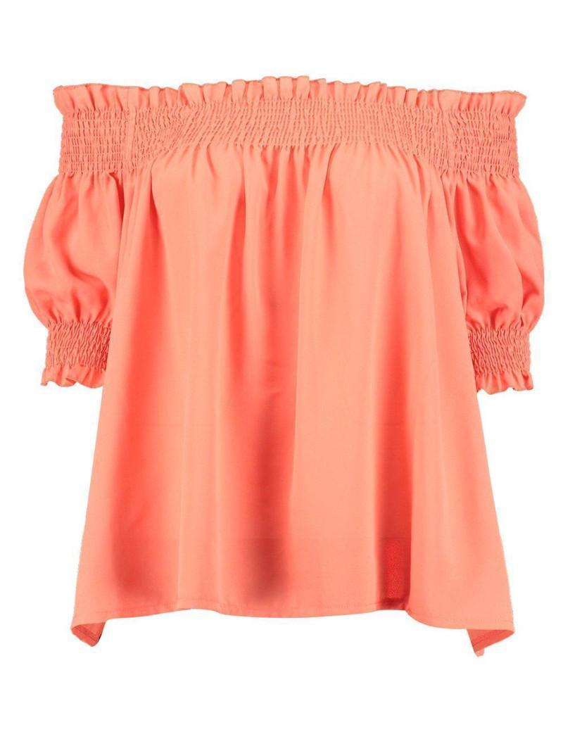 Verão New Tops Mulheres Sexy solto Alças Camisas de manga curta Ladies Top plissadas Tops T-shirt Tee para o desgaste do verão das mulheres