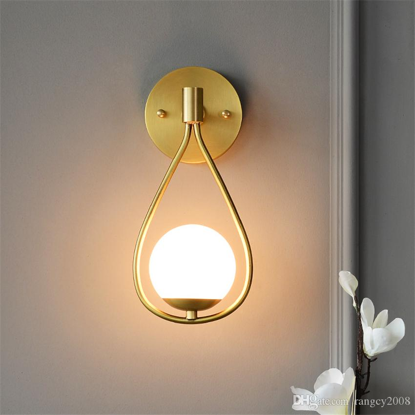 Droplet Wall Lamps Nordic Living Room Bedroom Bedside Sconce Wall Lights Glass Ball Restaurant Aisle E14 Fixtures
