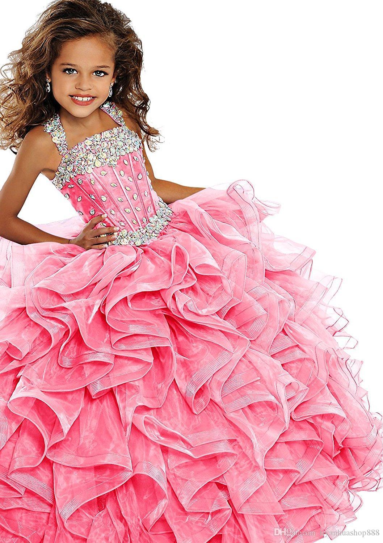 2019 маленькие девочки Pageant платье бальное платье длинные бирюзовые кристаллы в органзах raffled цветок девушки девочки день рождения платья для младшего зеленого цвета