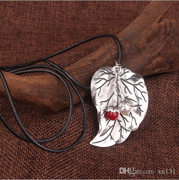 Hojas de la semilla de la vendimia joyería étnica colgantes de metal de la vendimia de plata tibetana collar, cuero hechos a mano collar de cuerda