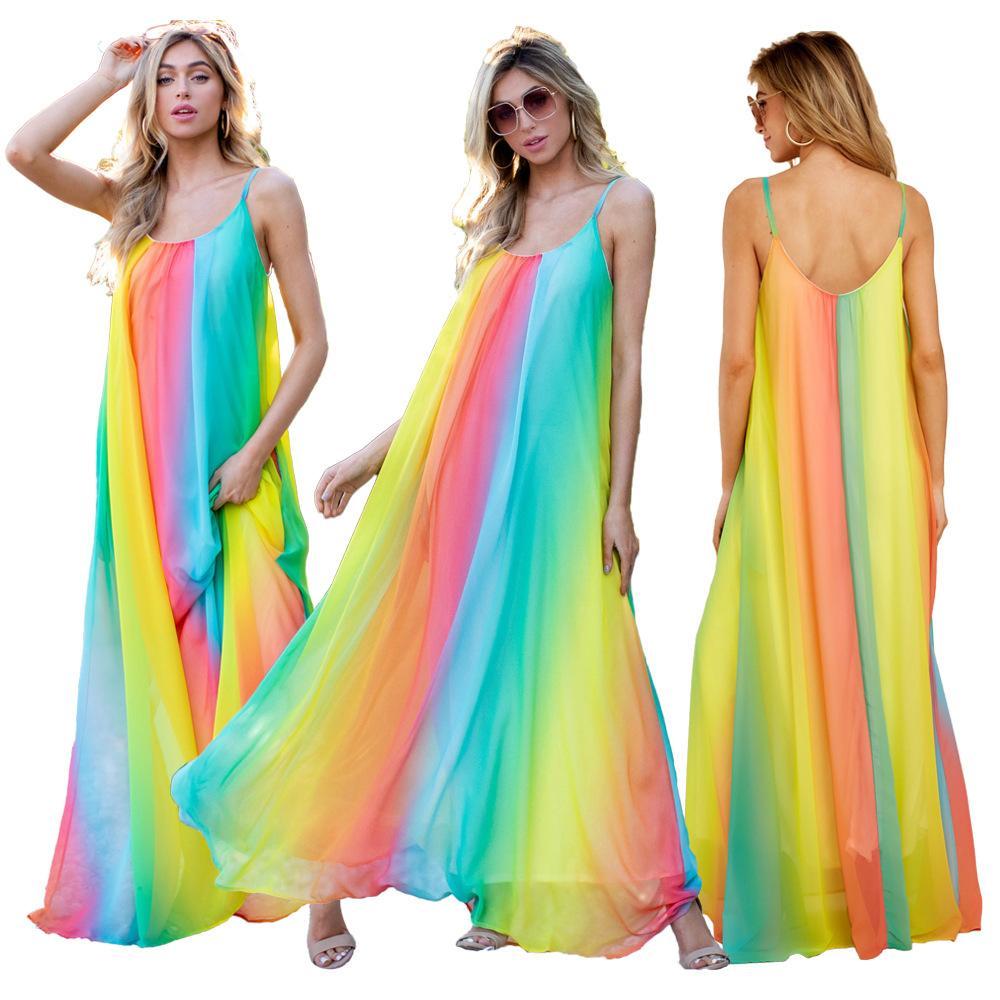 Sexy Halter Bohemian Maxi Dresses for Women Backless Summer Boho Beach Dresses Elegant Party Vestidos Mixed Rainbow Color Dress