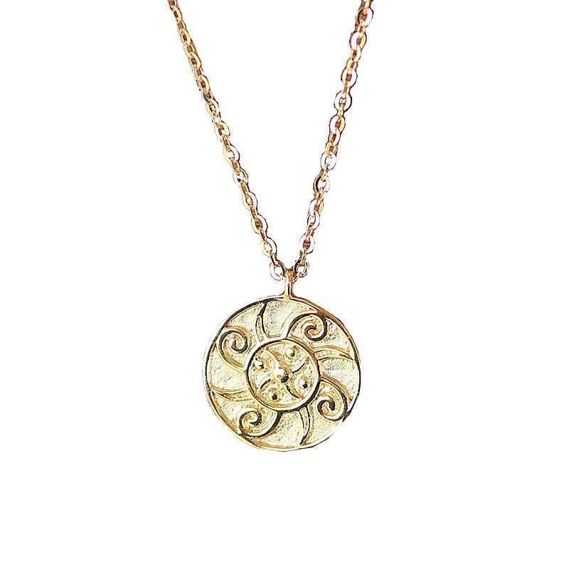 Завод Оригинальный дизайн 18K желтое твердое золото Подсолнечное Китайский стиль ключицы цепи ожерелье художественный стиль Китай Оптовая