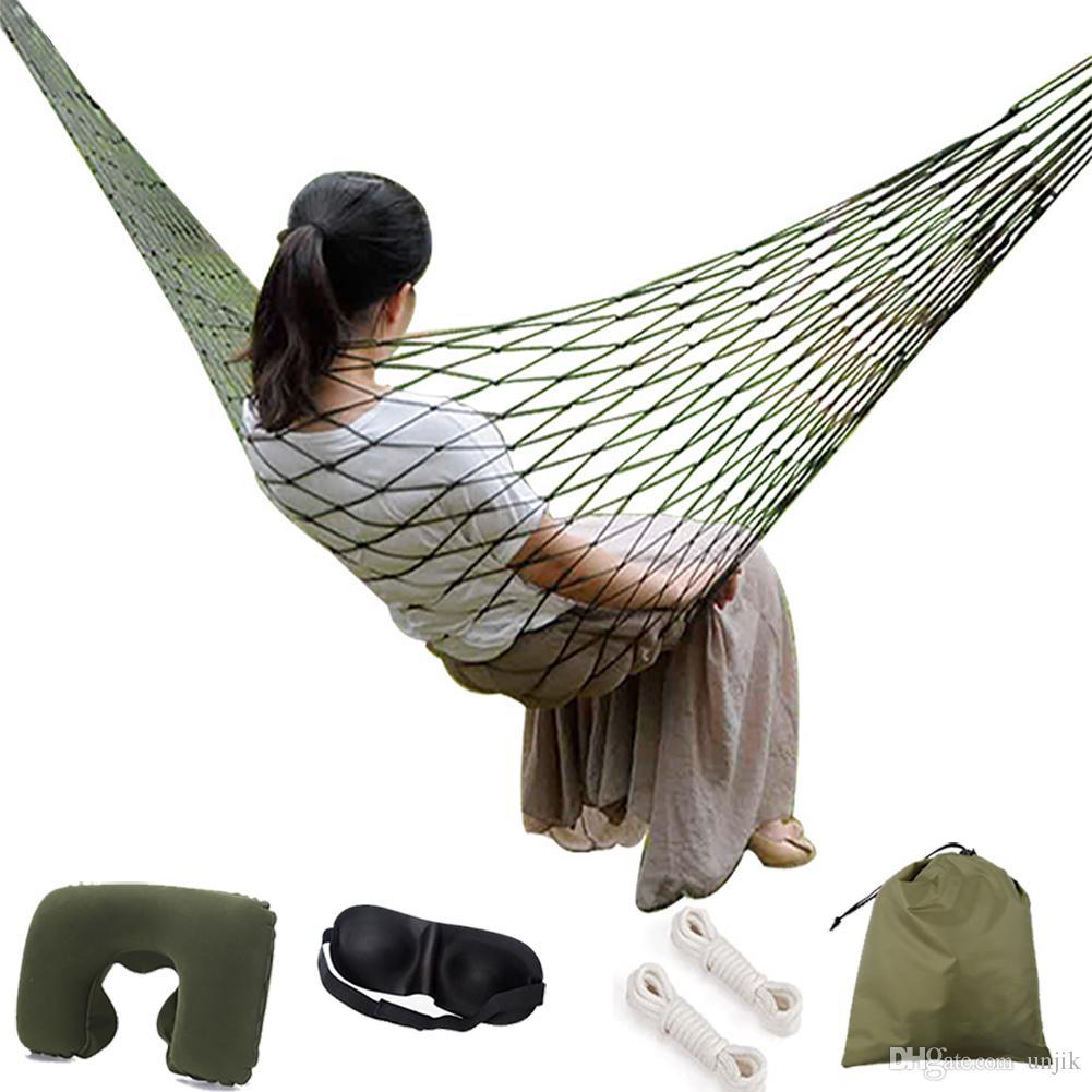 Taşınabilir Bahçe Naylon Hamak salıncak Asmak Örgü Net Uyku Yatak Seyahat Kamp Hamak için Açık Mobilya ile Salıncak hediye Yastık ile / siperliği
