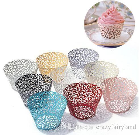 24 x LACE CUPCAKE WRAPPERS Laser Cut Cream Ivory Gold Wedding Baby Shower Party