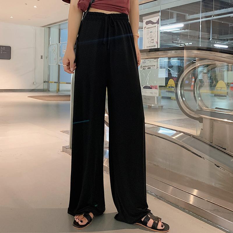 Weinlese-Sommer-Schwarz-Chiffon- Hose mit weiter Bein-Frauen-beiläufigen Normallack-elastische Hose loser lange Hose mit hohen Taille Frau Kleidung