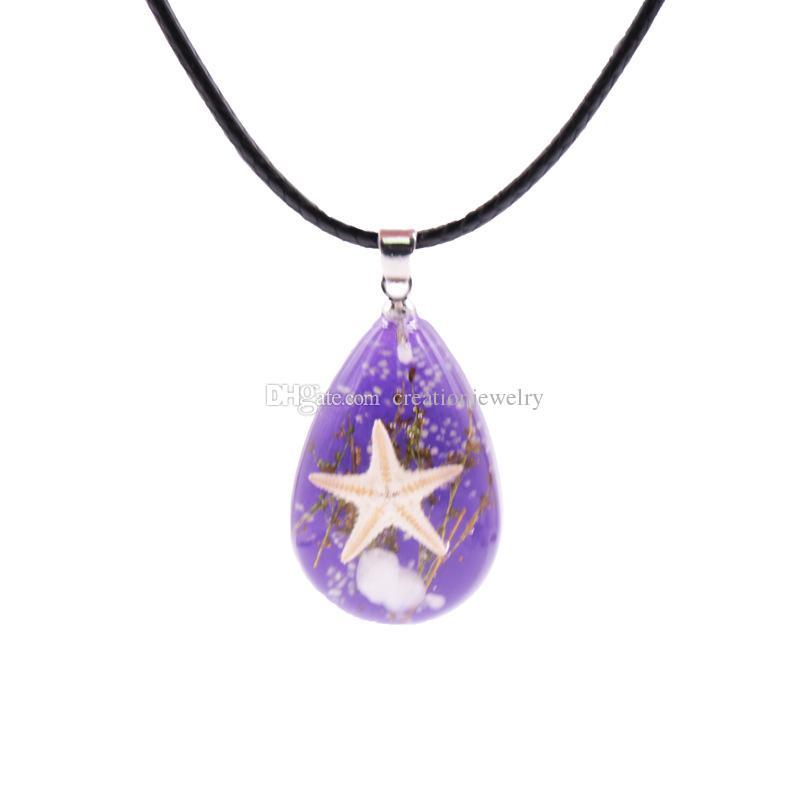 Wholesale glowing real starfish amber necklaces luminous sea specimen resin women lovers necklace tear drop pendants mix colors