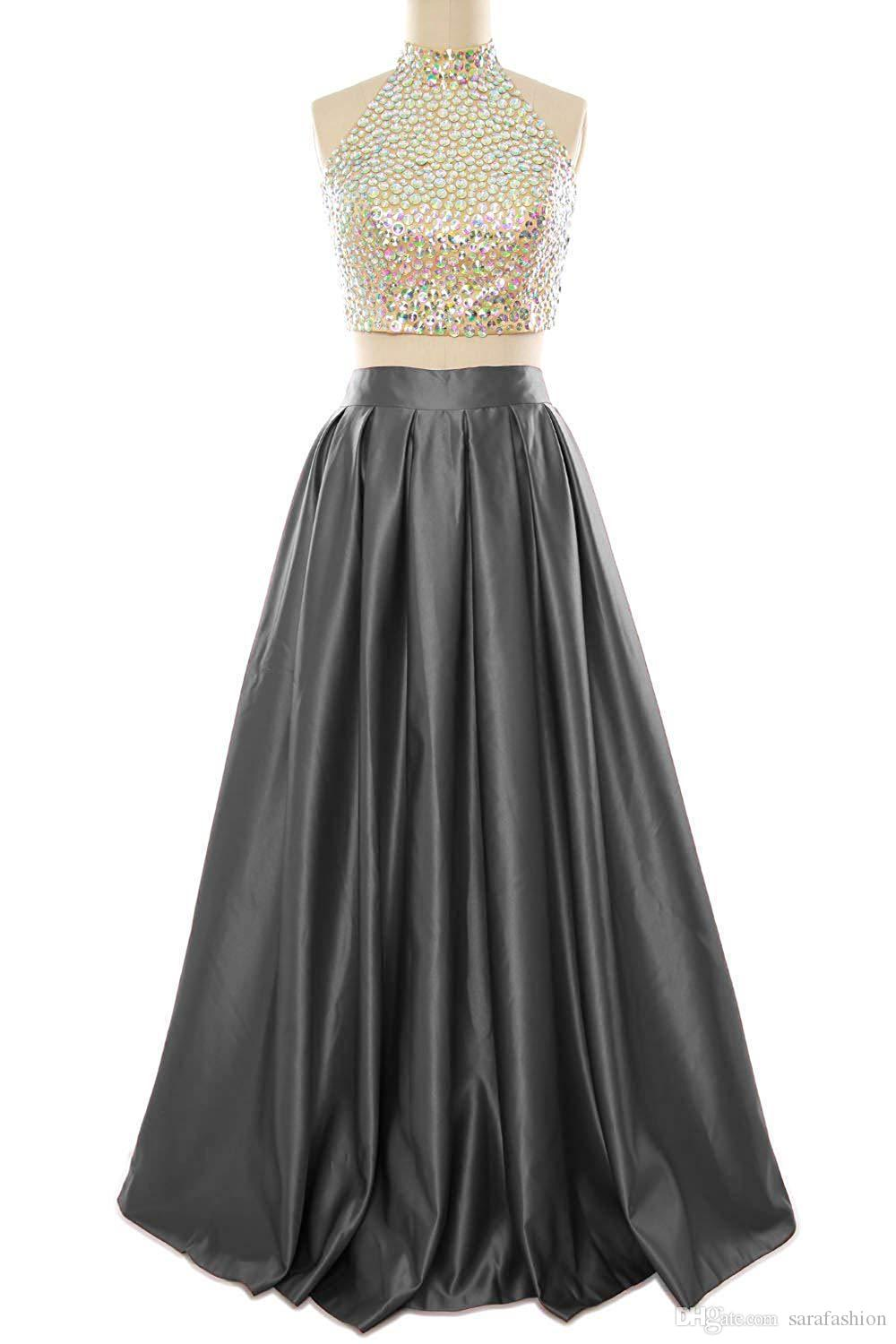 Beaded 2 Pieces Prom Dresses 2019 Red Gray Long Prom Gowns with Open Back Sexy Party Dress