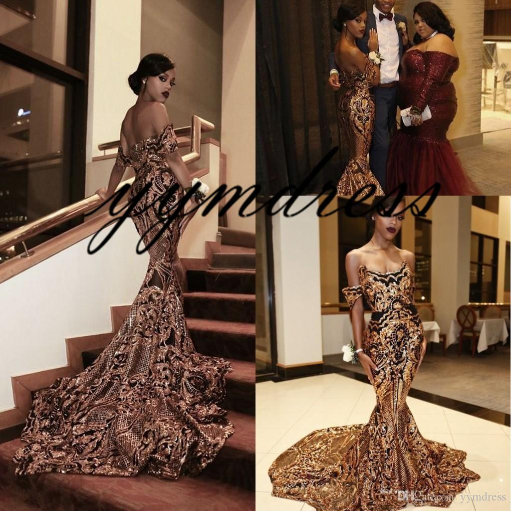Hot Sale Luxury Gold black Prom Dresses 2019 Mermaid off shoulder Sexy African Prom Gowns Vestidos Special Occasion Dresses Evening Wear